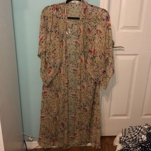 Long floral beach coverup
